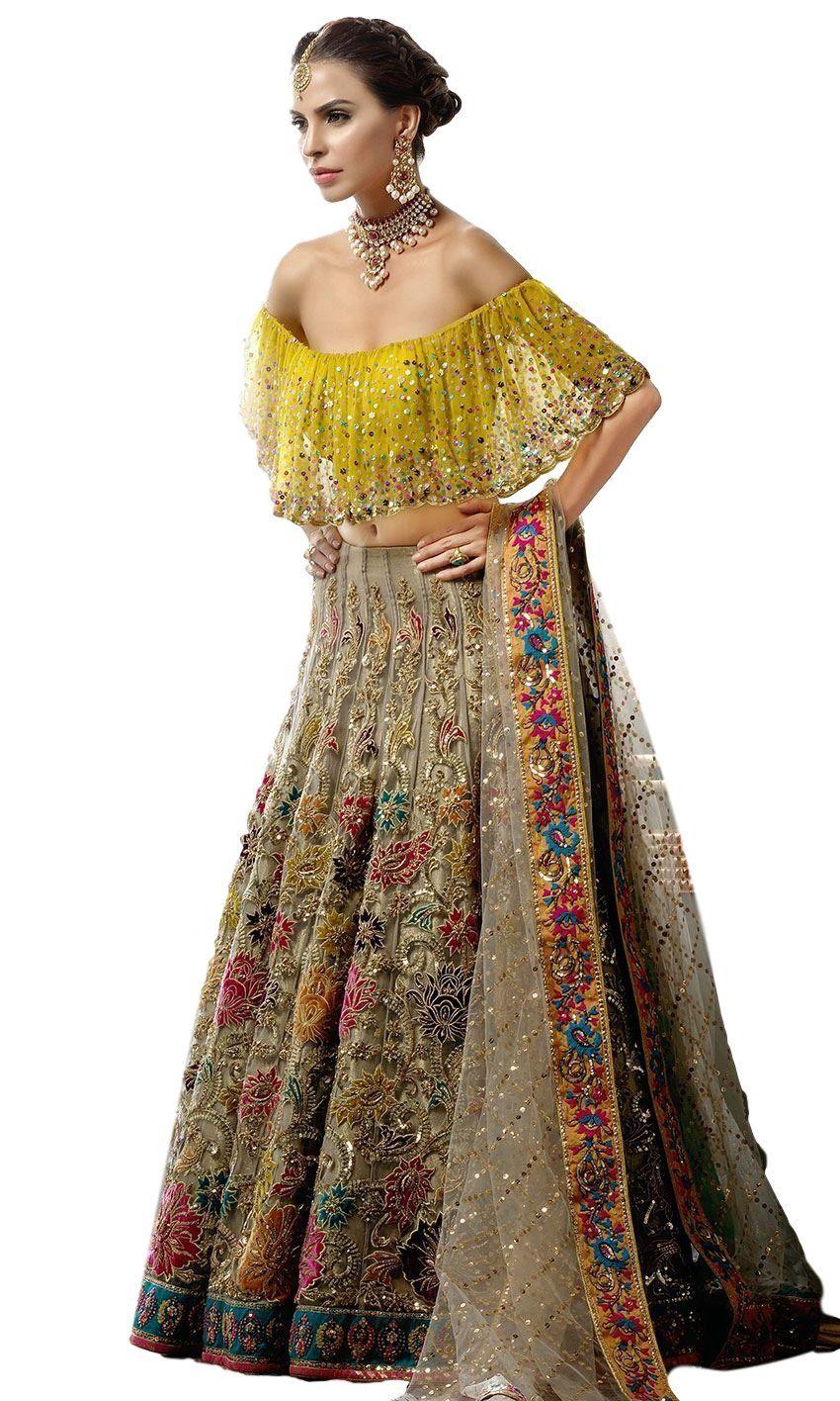 Fawn Color Wedding Lehenga With Multicolor Embroidery Lehenga