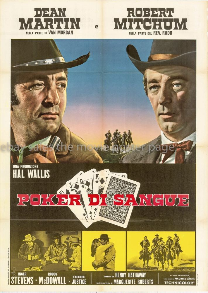 Five Card Stud Dean Martin Robert Mitchum Italian 2 Sheet Movie Poster R1970s