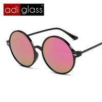 baf4ba27db Adiglass marca moda gafas hombres mujeres gafas de sol redondas espejo  recubrimiento de protección UV gafas de sol gafas gafas accesorios