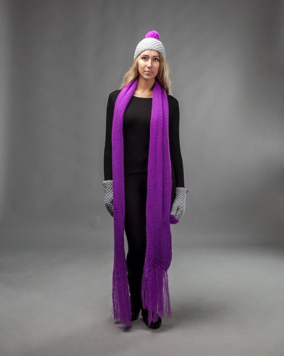 Extra long scarf in neon purple by IVETTI on Etsy