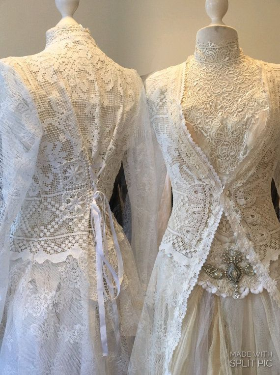 Wedding lace cardigan long bridal coat unique by RAWRAGSbyPK | RAW ...