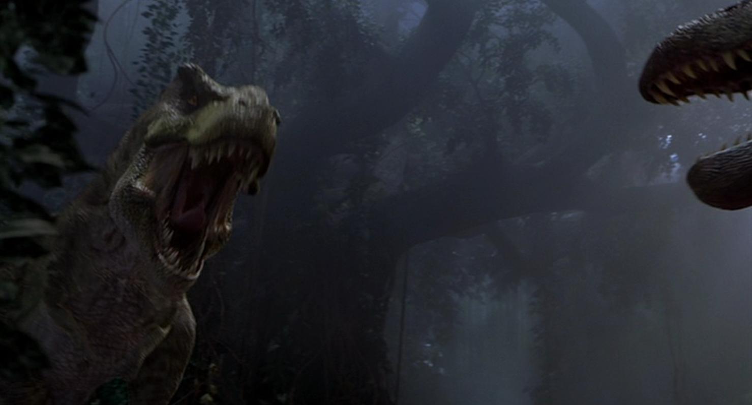 Jurassic Park III (2001) Spinosaurus vs. TRex. Pinned by