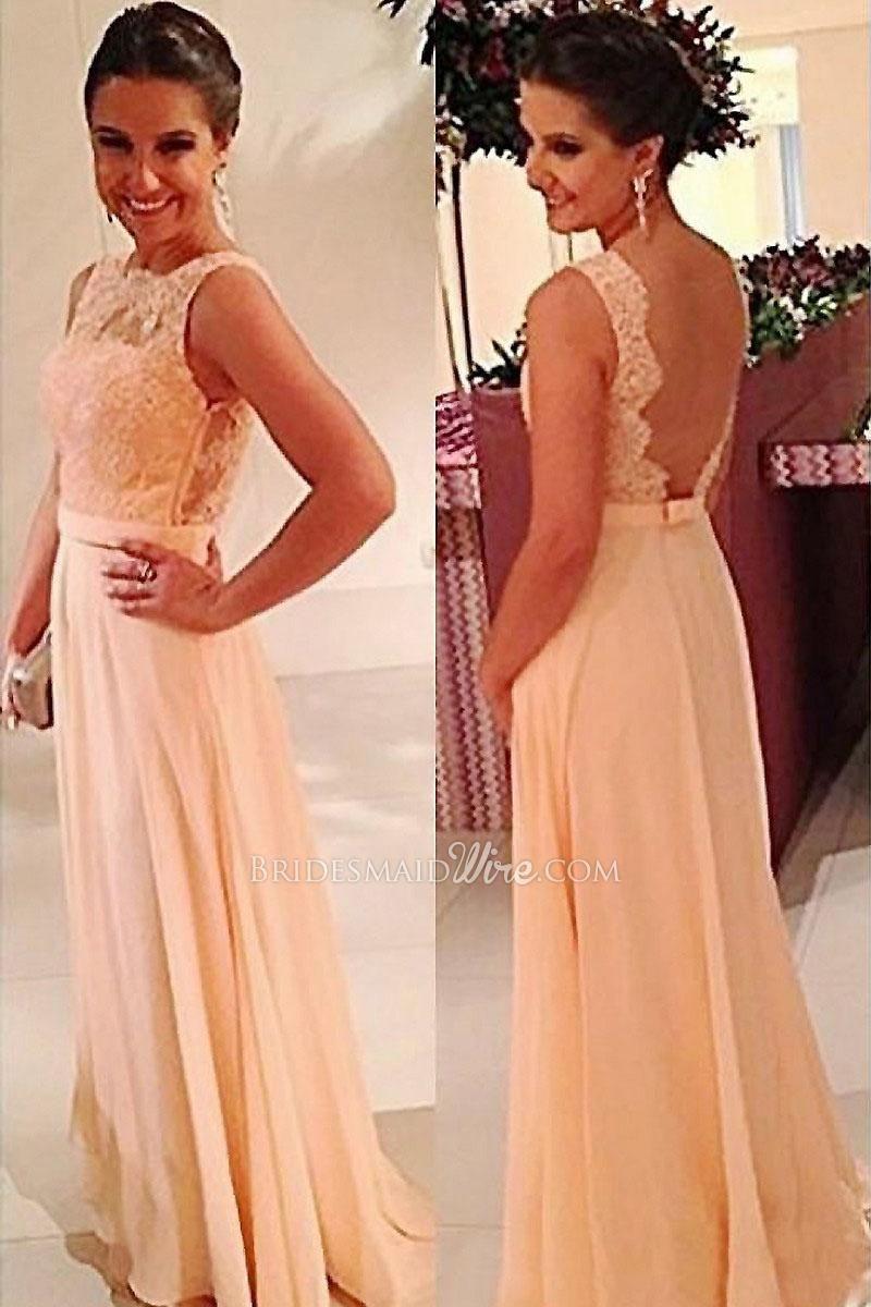 Long sleeveless lace bodice champagne chiffon bridesmaid dress long sleeveless lace bodice champagne chiffon bridesmaid dress ombrellifo Images