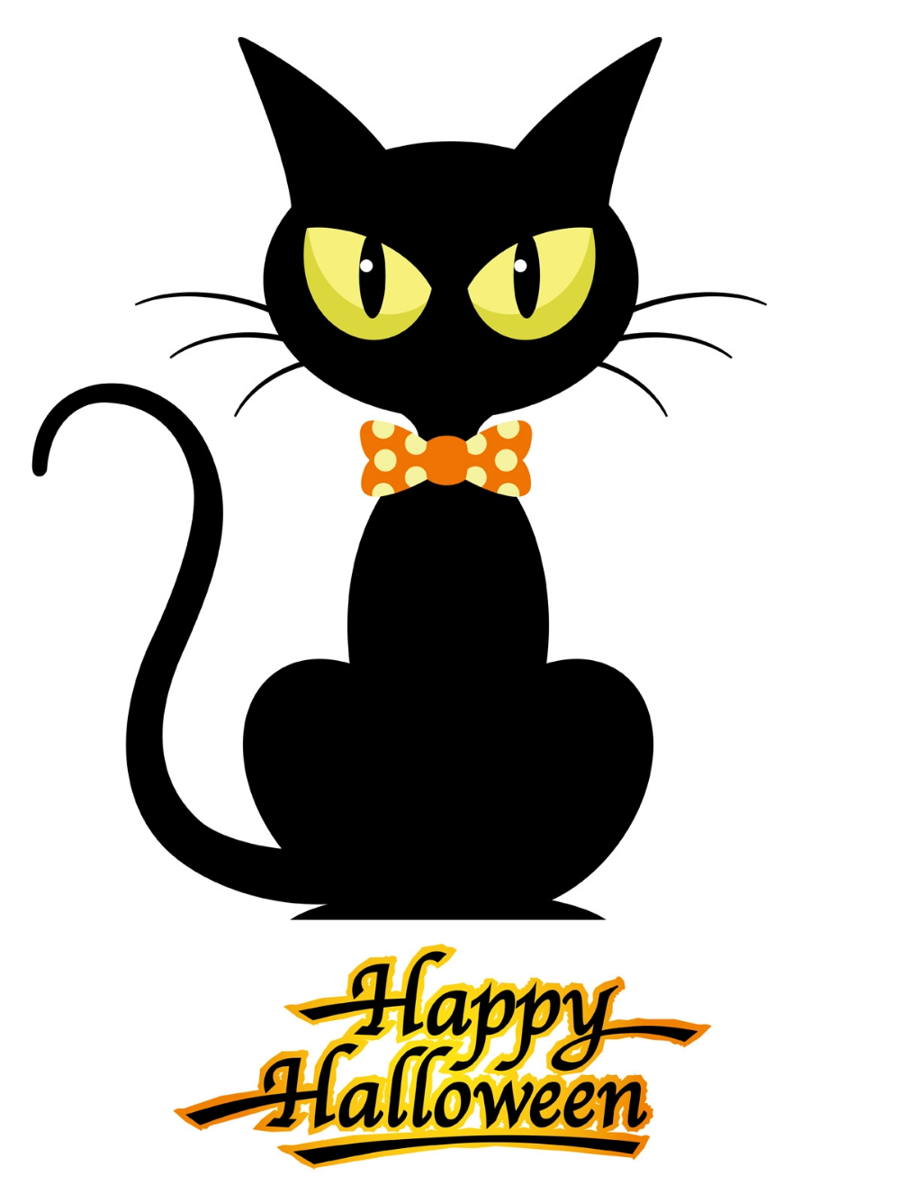 Download Black Cat With Happy Halloween Logo Isolated On A White Background Vector Art Choose From Over Halloween Logo Halloween Vector Halloween Greetings
