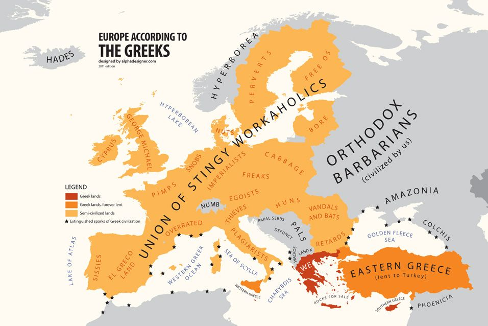 Made me smile from alphadesigners mapping stereotypes project europe according to greece maps charts diagrams gumiabroncs Images