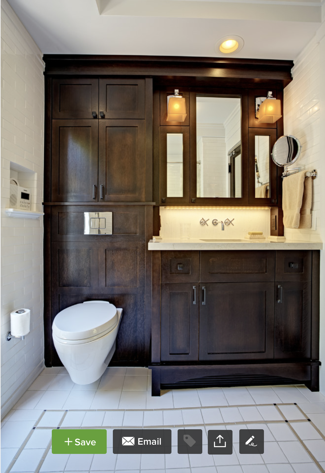compact bathroom design. wall mount toilet and integrated
