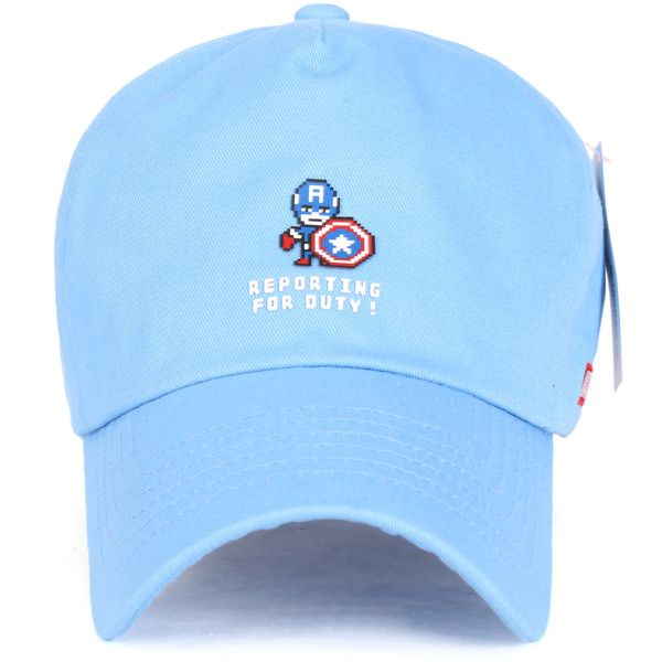 edf30a43903 Marvel Captain America  Reporting For Duty Cute Logo Hat Baseball Cap...  ( 14) ❤ liked on Polyvore featuring accessories