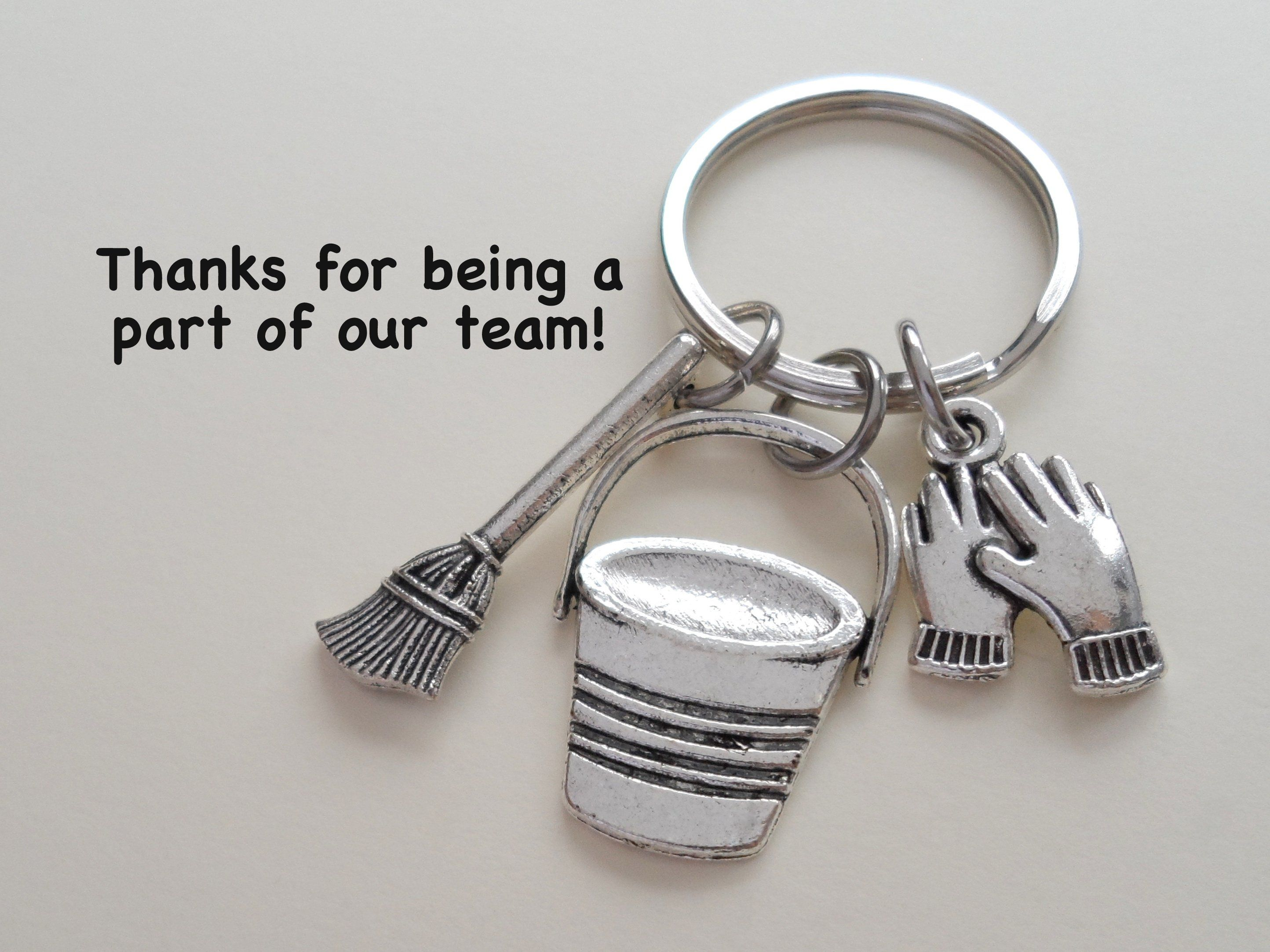 Housekeeping Appreciation Gift Keychain; Bucket, Broom, Work Gloves Charm Keychain #custodianappreciationgifts