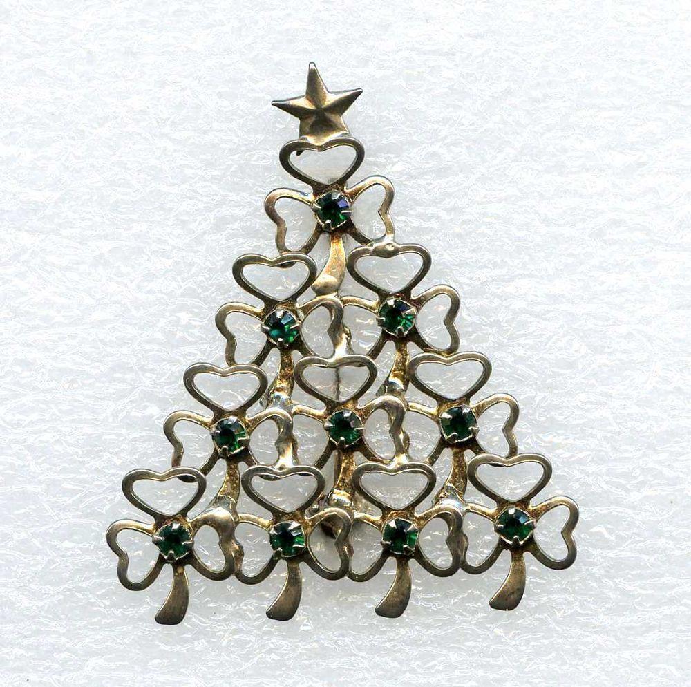 64299004ba3 Vtg Christmas Tree 3 Leaf Clover Shamrock Green Rhinestone SilverTone Brooch  Pin #NotSigned