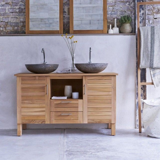 Meuble Salle de bain en bois de teck 125 Soho en 2018 deco
