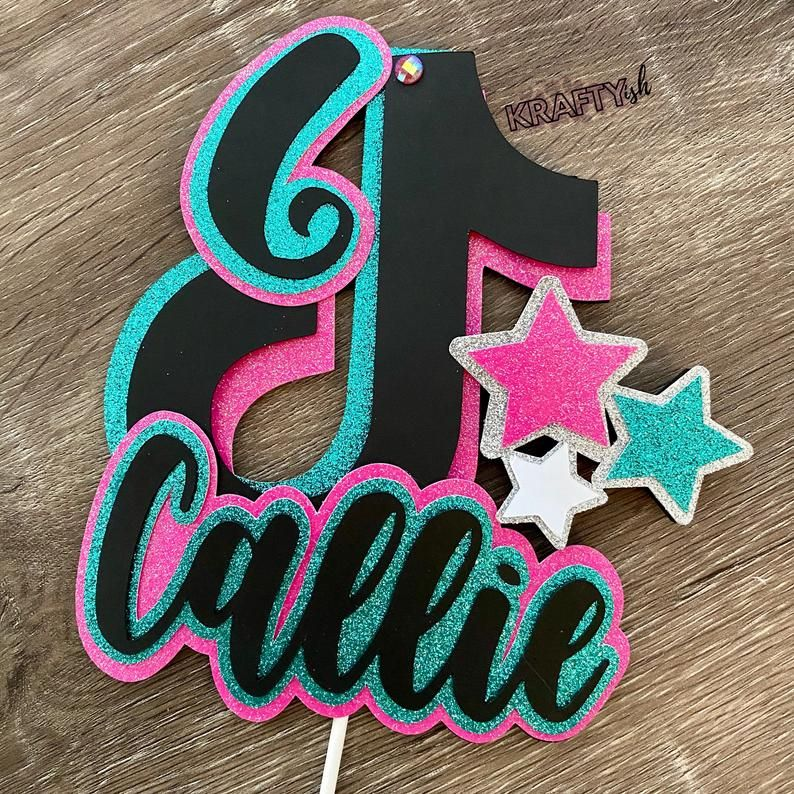 Tik Tok Inspired Cake Topper Personalized And Can Change Colors Party Decor Tik Tok Party Supplies In 2021 Birthday Cake Toppers Birthday Party For Teens Party Decorations