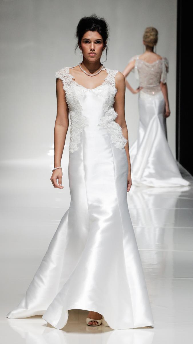 Ivory Mikado Lace Fishtail Open Back Wedding Dress Lace