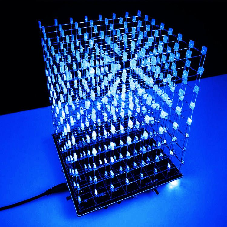 [US25.44] DIY WIFI APP 8x8x8 3D Light Cube Kit Blue LED
