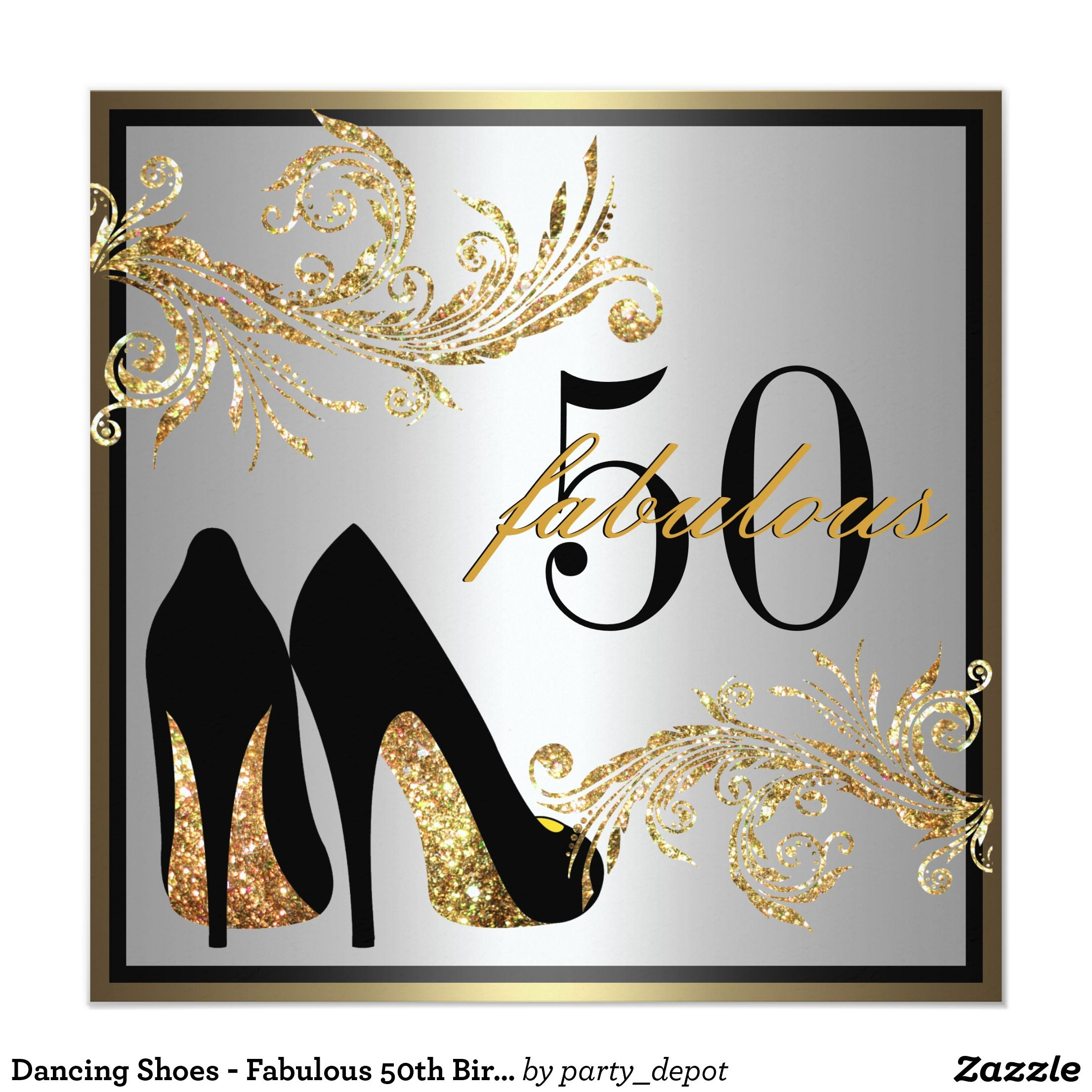 Shoes - Fabulous 50th Birthday Invitation