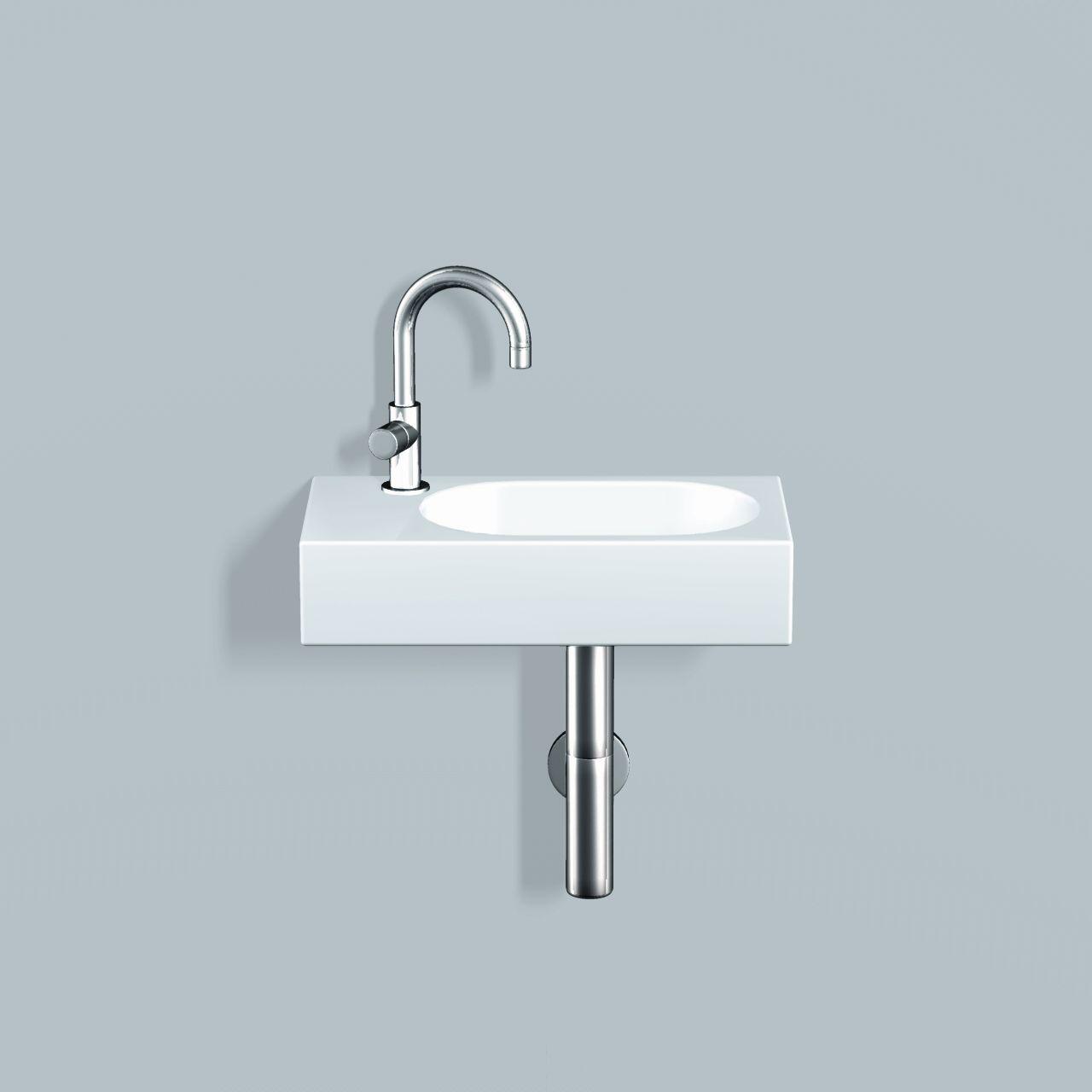 Alape håndvask i hvid glaseret med oval vask til højre - Dornbracht ...