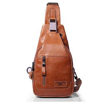 fa0173808be1 Ekphero® Men Casual Genuine Leather Oil Wax Chest Bag Crossbody Bag