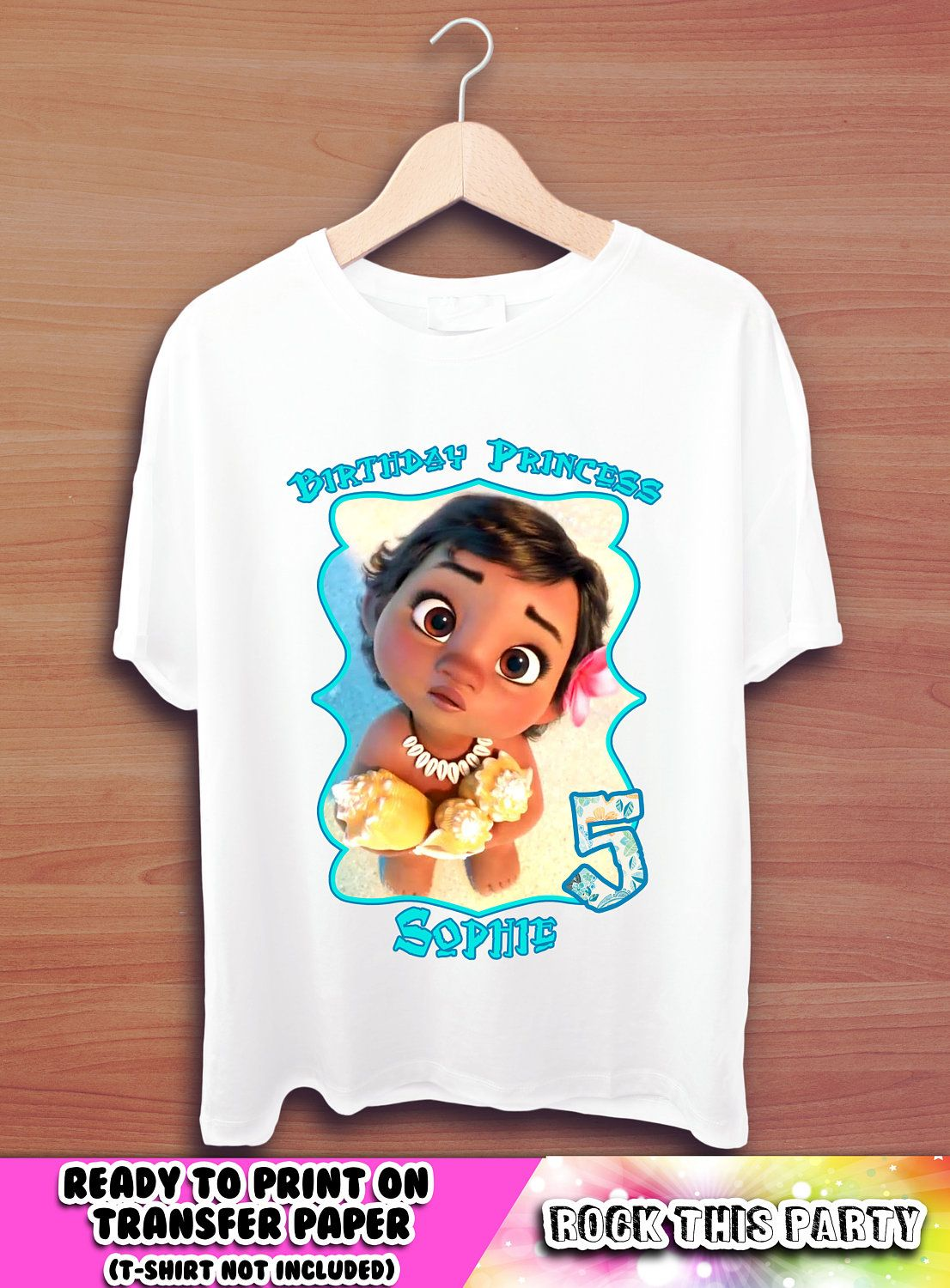 Design your own t-shirt iron on transfer - Moana Personalized T Shirt Graphic Tees Birthday Girl Printable Iron On Transfer Vaiana Printables T Shirt Download Girl Custom Design Shirt
