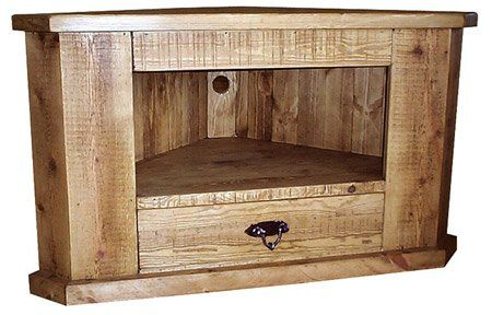 Homemade Rustic Furniture | ROUGH SAWN SOLID HANDMADE PINE CORNER TV UNIT STAND  RUSTIC   FURNITURE