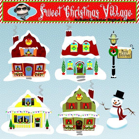 House With Christmas Lights Clipart.Christmas Village Clipart Christmas Village Clip Art