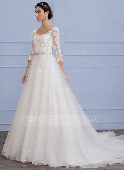 15d7c06b7907c Forme Princesse Traîne mi-longue Organza Dentelle Robe de mariée ...
