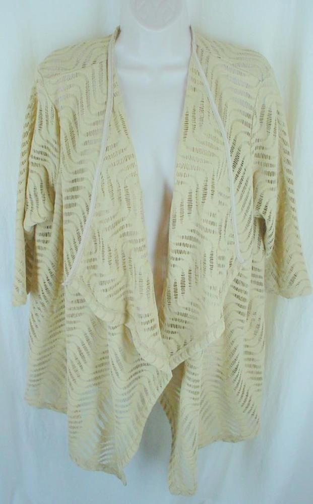 Avenue Lagenlook Cardigan 14 16 Top Open Cut Work Dressy 3/4 Sleeve #Avenue #OpenFrontCardigan #Dressy