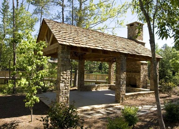 Outdoor pavilion plans the lakeside pavilion with its for Outdoor gazebo plans with fireplace