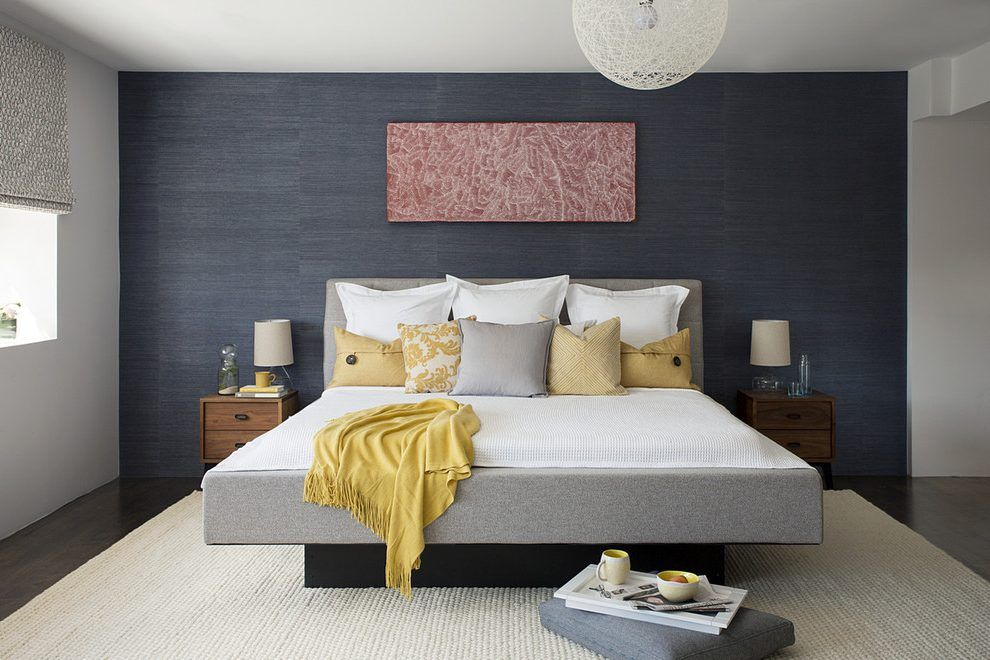 Image Result For Mid Century Modern Bedroom Blue Walls Blue Accent Walls Dark Blue Bedrooms Gray Accent Wall Bedroom