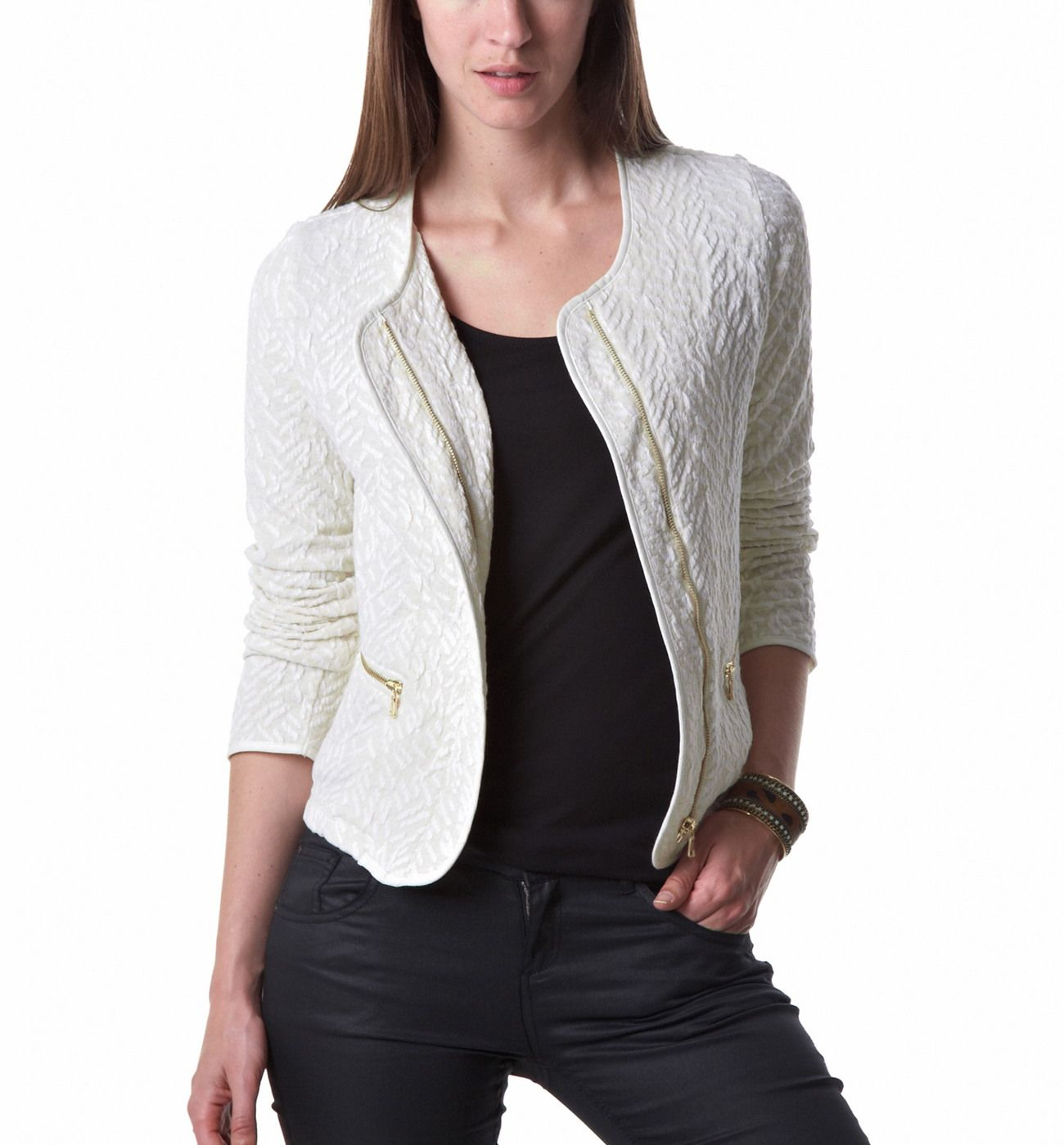 veste zipp e femme ecru vestes blousons femme promod veste pinterest. Black Bedroom Furniture Sets. Home Design Ideas