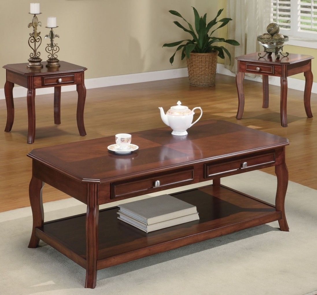 Black And Cherry Coffee Table Set