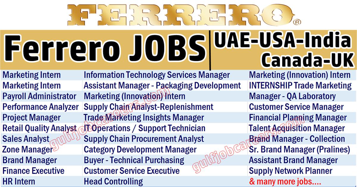 Ferrero Jobs || Seek || Worldwide Jobs || Vulearning Jobs