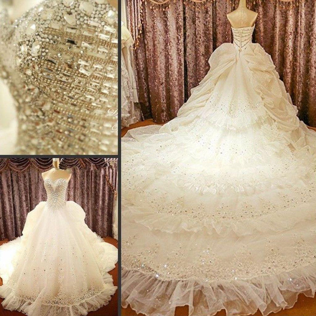 Luxury Sweetheart Sparkle Rhinestone Lace Wedding Dresses