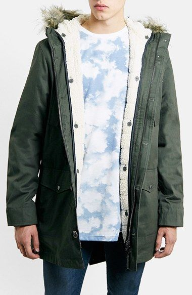 Topman Heavyweight Fishtail Parka with Faux Fur Trimmed Hood ...