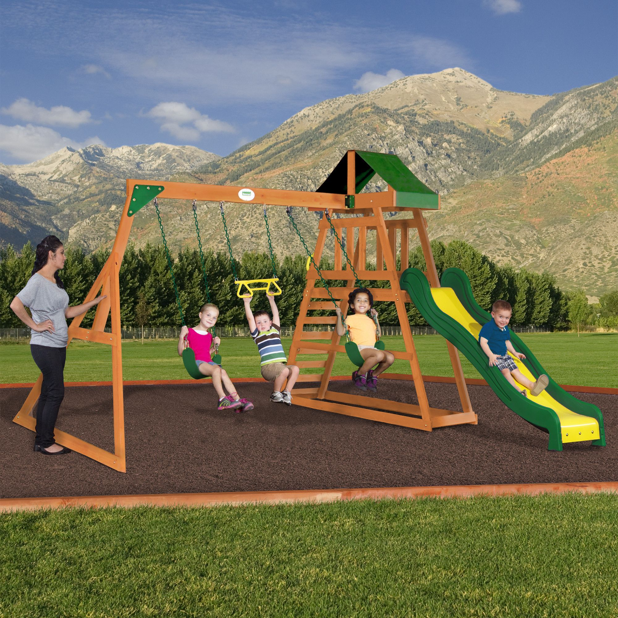 Prescott Wooden Swing Set | Backyard playset, Outdoor ...