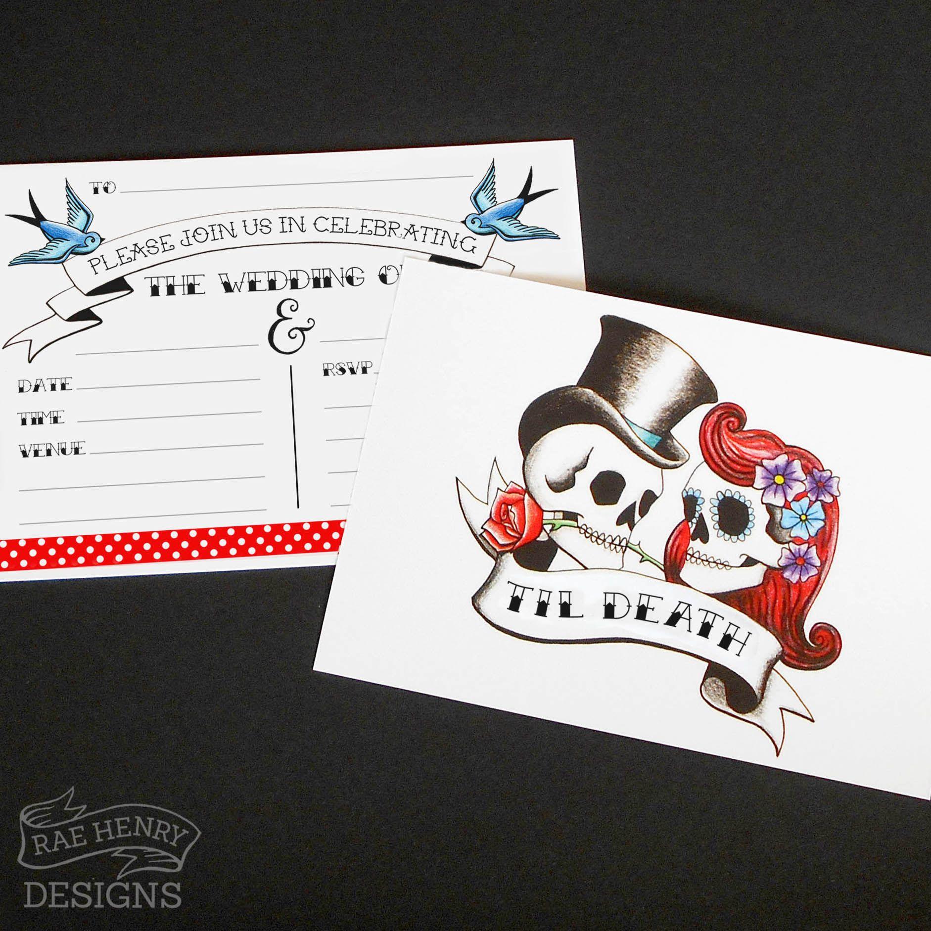 Rockabilly Skulls Swallows Tattoo Wedding Invitations By Rae Henry Designs