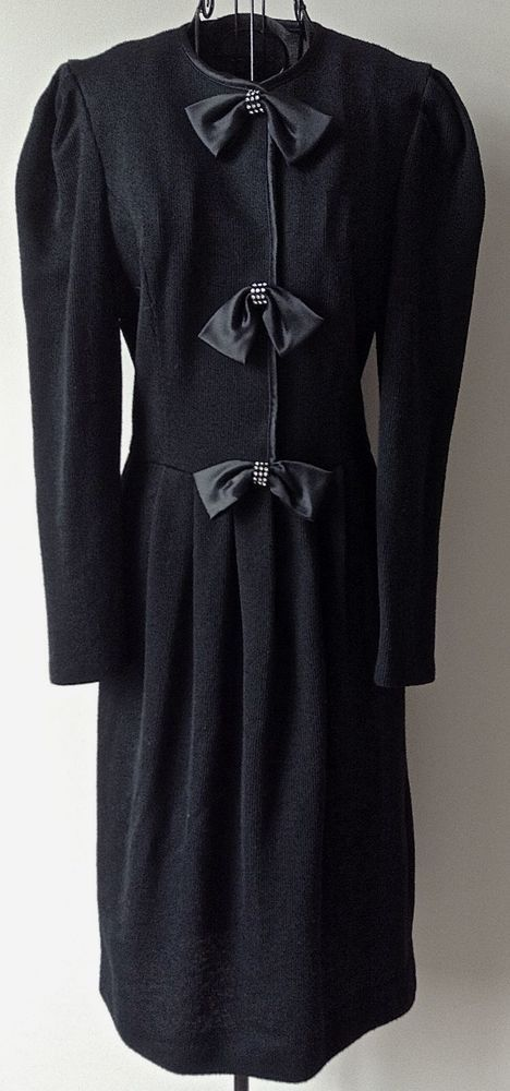 ad01cd003eb Vintage Leslie Fay Collection Rhinestone Black Knit Sweater Dress Satin  Bling 8  LeslieFay  SweaterDress