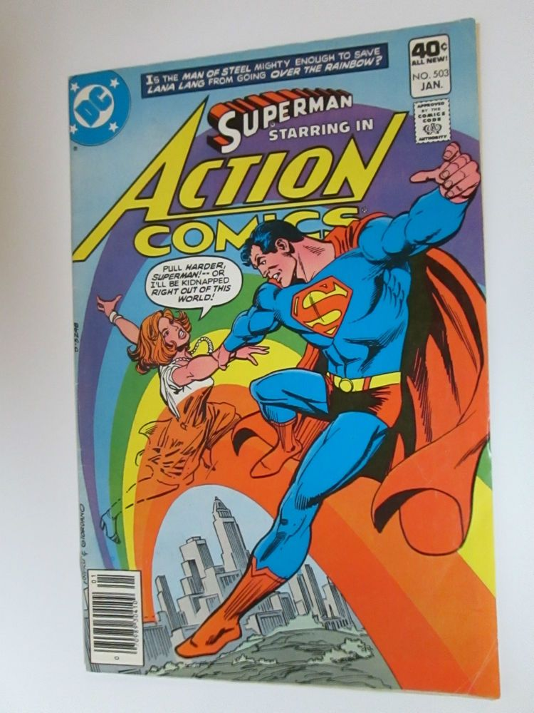 Superman Starring In Action Comics 503 Dc Lana Lang Going Over The Rainbow Superman Comic Lana Lang Comic Books For Sale