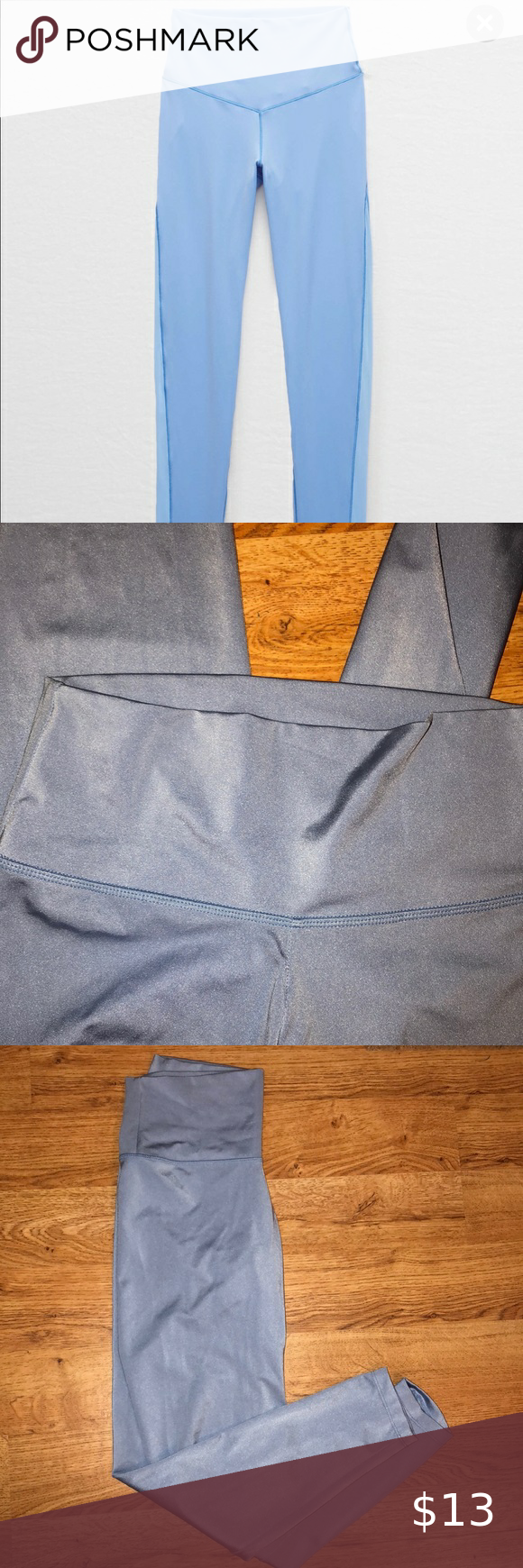 aerie leggings aerie leggings WORN ONCE super cute mesh-looking sea blue :) Pants Leggings #myposhpicks