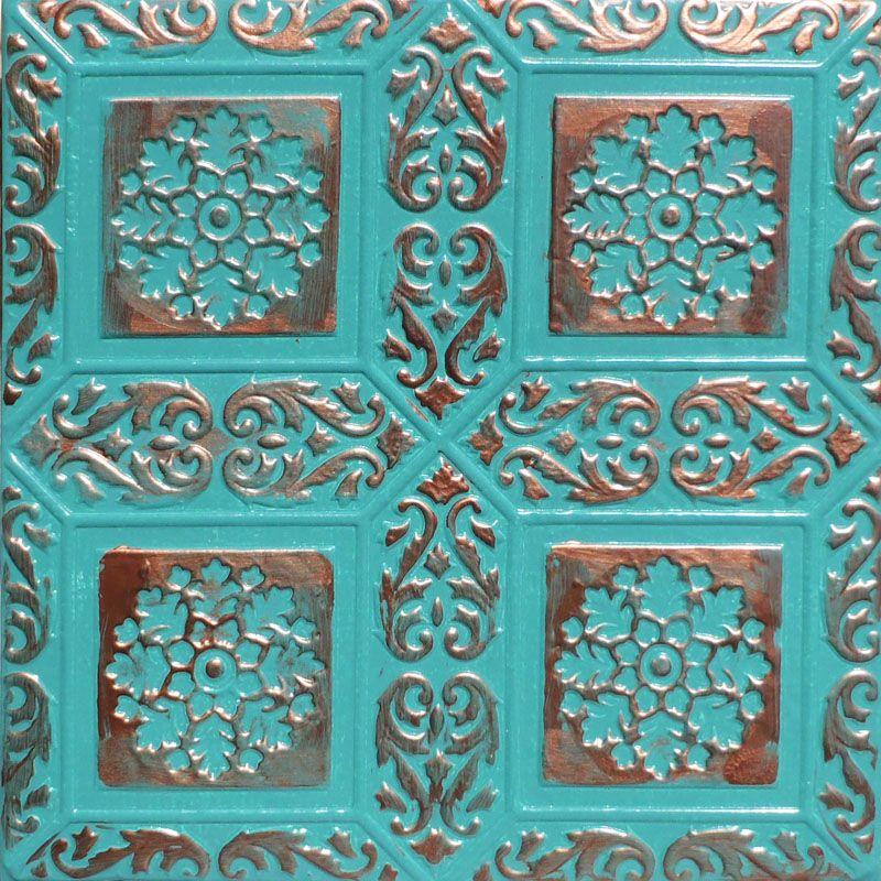 """Patina Aluminium Accent Wall Ideas: 20x20"""" Ankara Accent Copper Patina PVC 20mil Ceiling Tiles"""