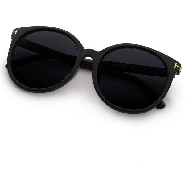 53349a811e Black Cat Eye Reflective Lenses Sunglasses ($8.99) ❤ liked on Polyvore  featuring accessories,