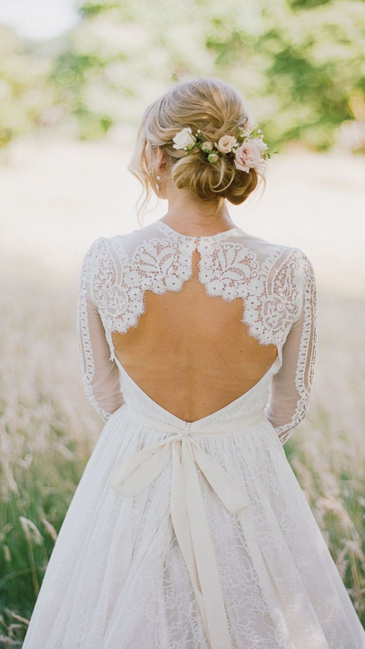 Country style lace wedding dress  Open Back Lace Wedding Dress with a Flower Headpiece