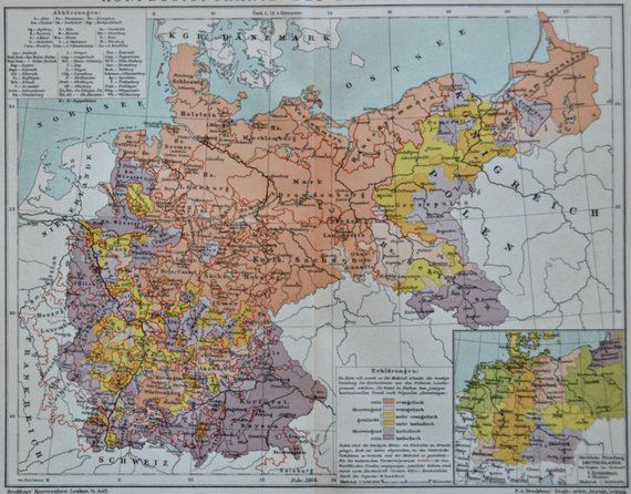 Religious belief map in Germany at the beginning of the 20th century on