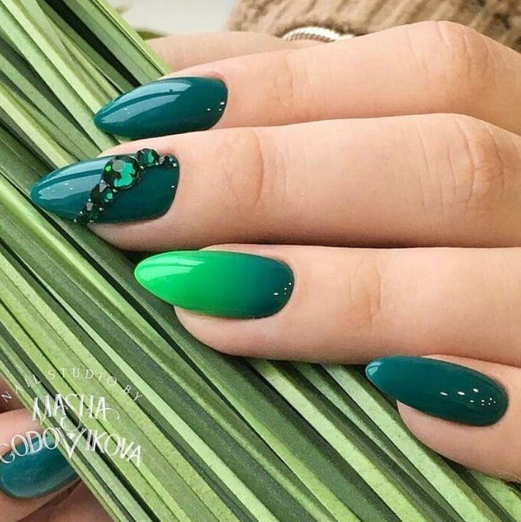 50+ Manicure ideas based green color 2018 | Manicuras, Arte de uñas ...
