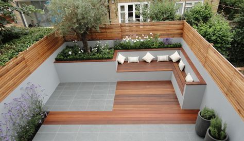Bancas de madera Decoracion Jardin Pinterest Terrazas, De - jardines con bancas