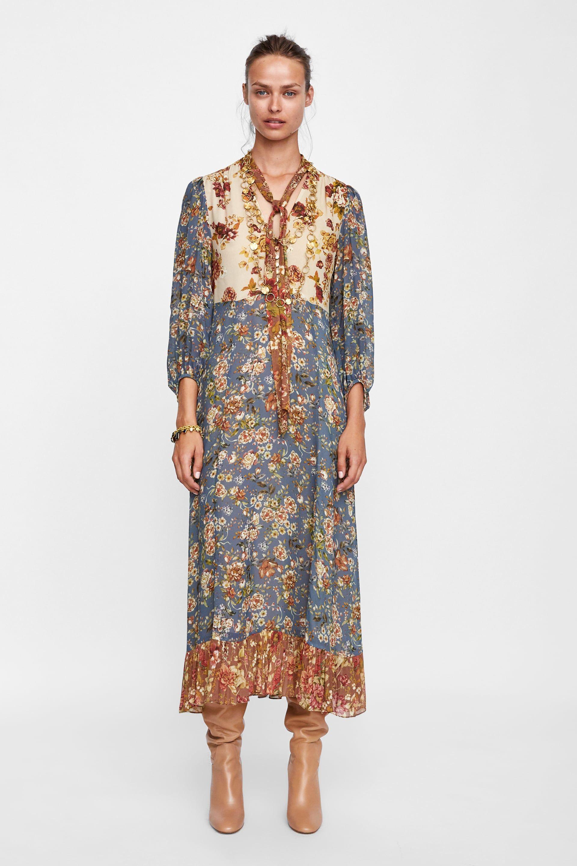 15f3ab3b8 Vestido estampado com patchwork de 2019 | DRESSES | Vestidos ...