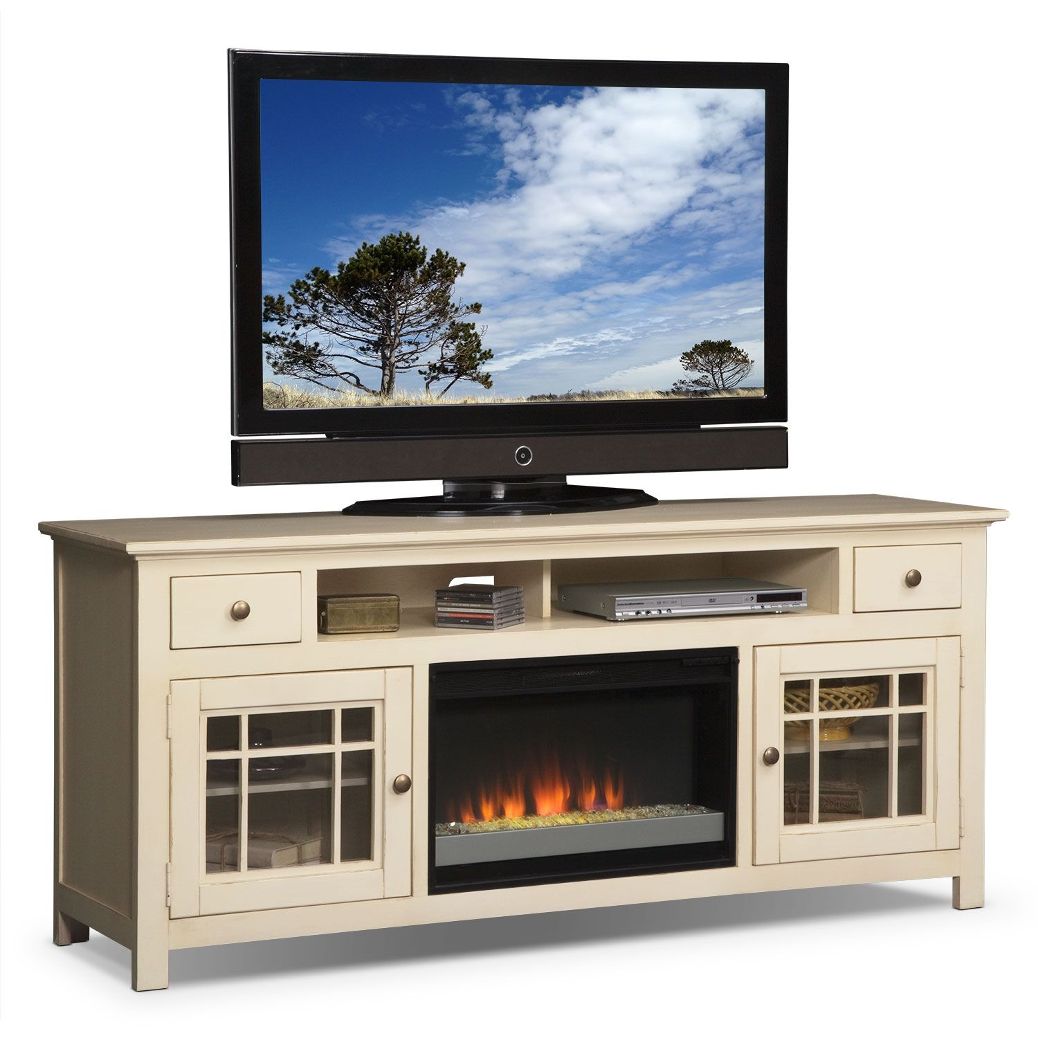 merrick fireplace tv stand with contemporary insert  white. httpwwwvaluecityfurniturecomproductitemlivingroom