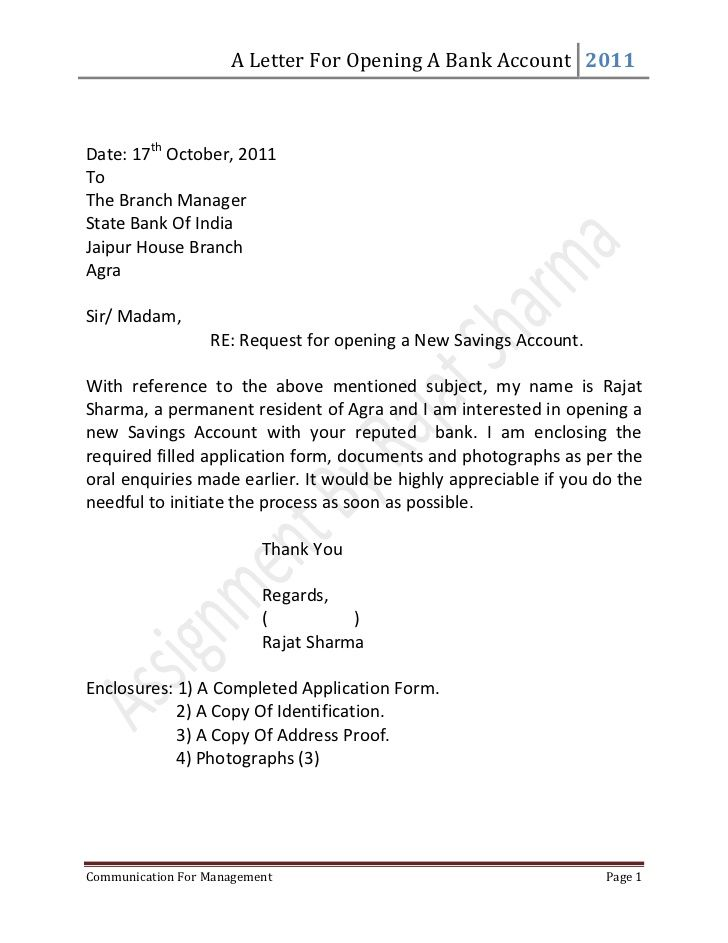letter for opening bank account date october tothe sample business - sample letters