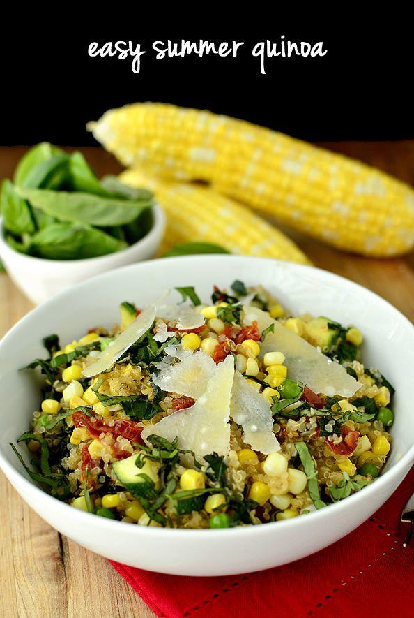 Easy Summer Quinoa is a fresh and fast quinoa recipe using tasty in-season ingredients! | iowagirleats.com