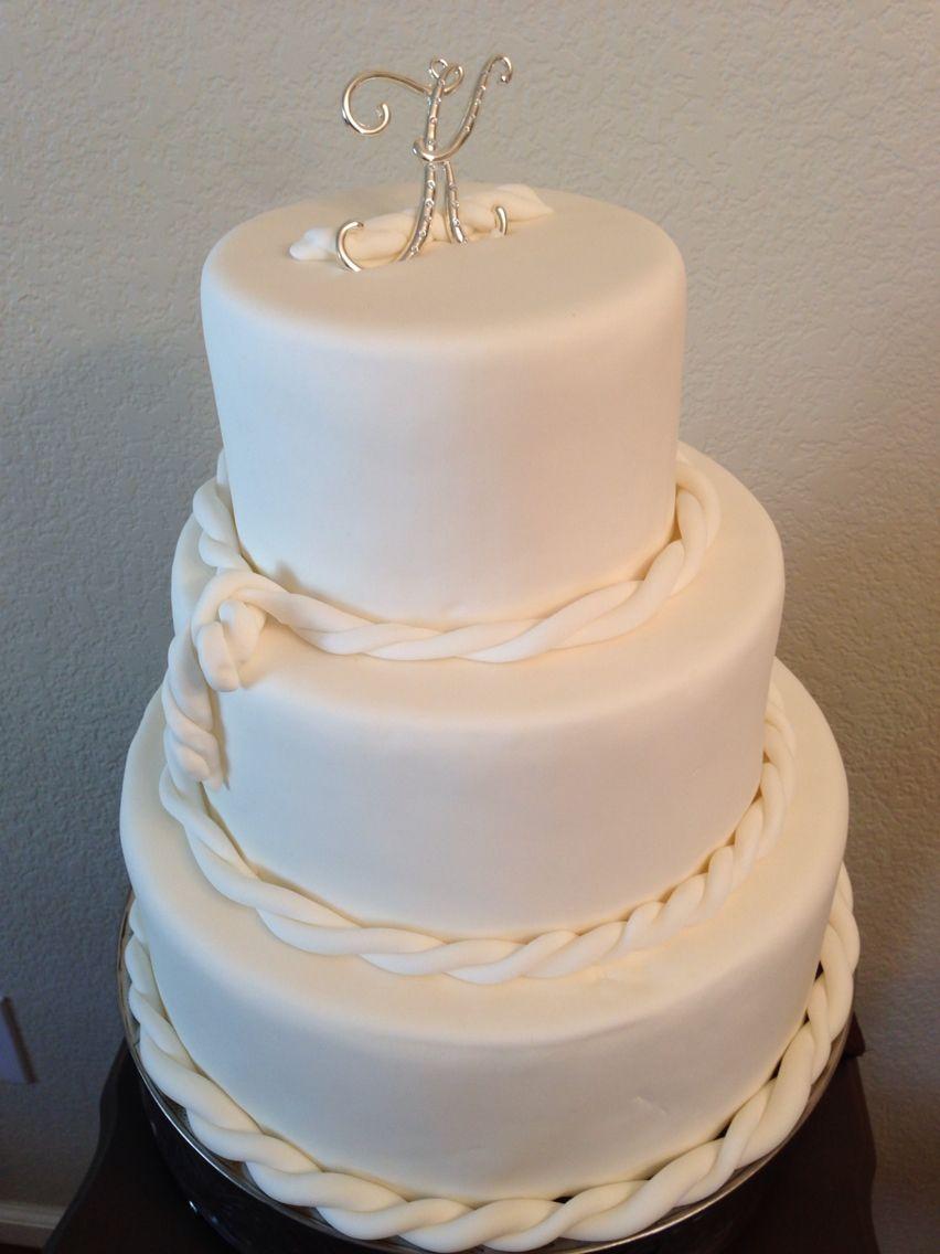 Three tier white fondant rope cake  www.cakekouturebychar.com