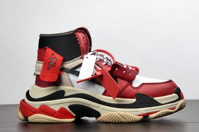 online store d7d67 3fef6 Off White Nike Air Jordan 1 X Balenciaga Triple S Black Red Shoe