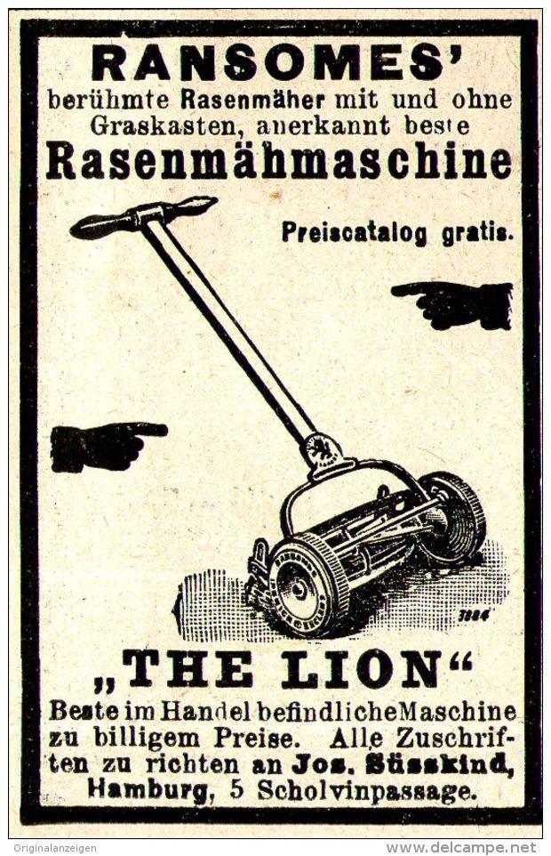 """Original-Werbung/ Anzeige 1897 - RANSOMES' RASENMÄHMASCHINE """"THE LION"""" / SÜSSKIND - HAMBURG - ca. 45 x 65 mm"""